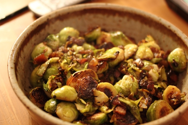 Brussels sprouts with bacon and dates